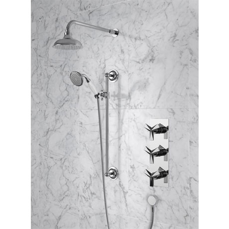 """Heritage Hemsby Dual Control Recessed Valve with Twin Stopcock, 6"""" Fixed Head and Handset"""