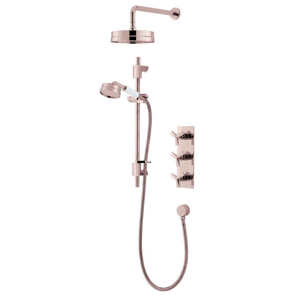Heritage Hemsby Rose Gold Recessed Shower with Deluxe Fixed Head and Flexible Kit - SHPRGDUAL01 Larg