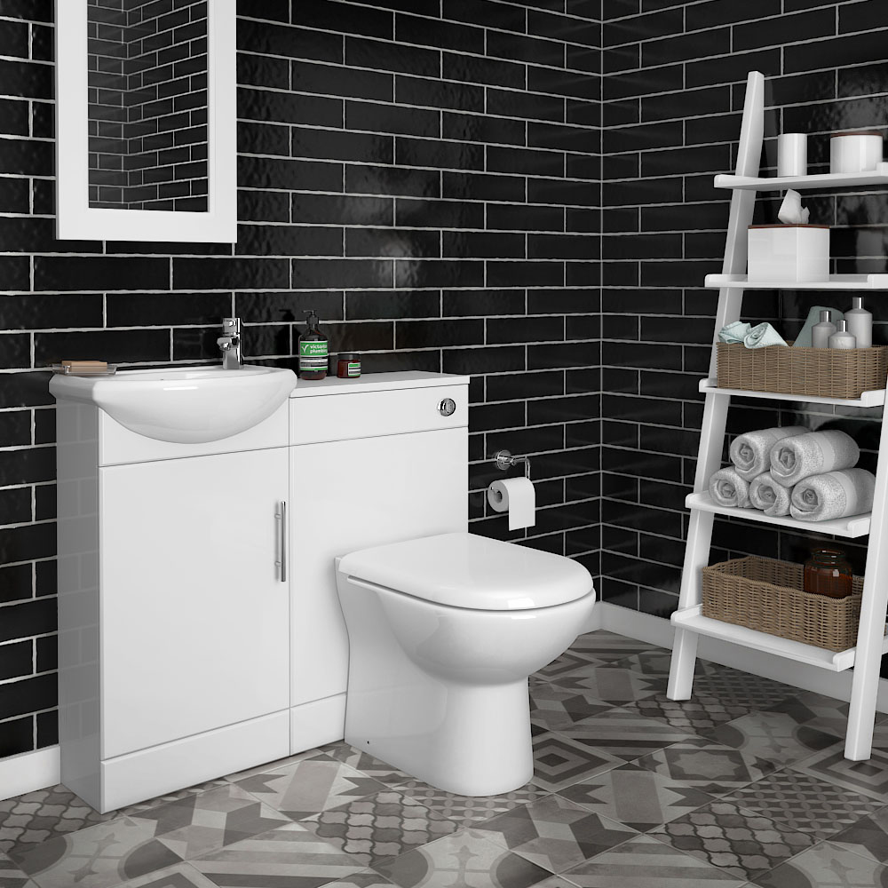 Sienna W920 x D200mm High Gloss White Vanity Unit Cloakroom Suite + D-shaped pan profile large image view 1
