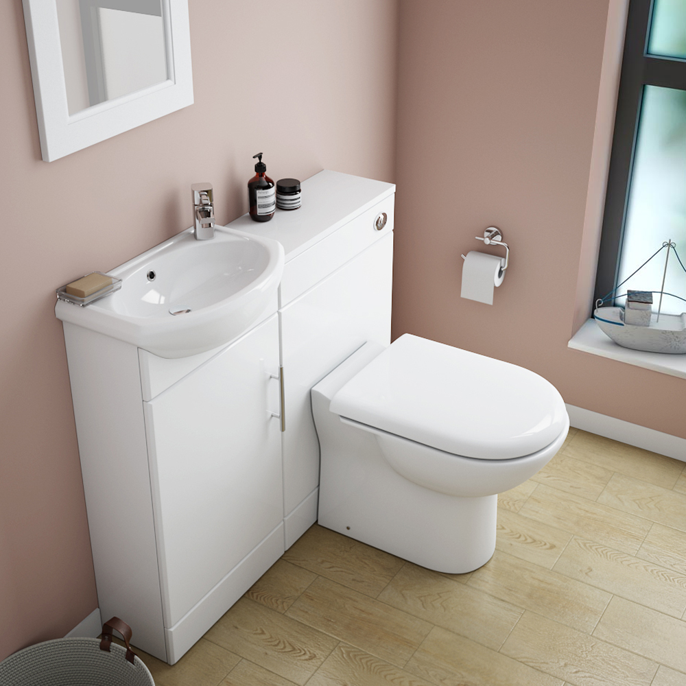 Sienna W920 x D200mm High Gloss White Vanity Unit Cloakroom Suite + D-shaped pan