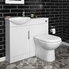 Sienna W920 x D200mm High Gloss White Vanity Unit Cloakroom Suite + D-shaped pan profile small image view 1