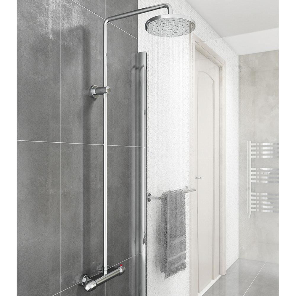 Modern Round Thermostatic Bar Shower Valve & Riser Kit - Chrome Large Image