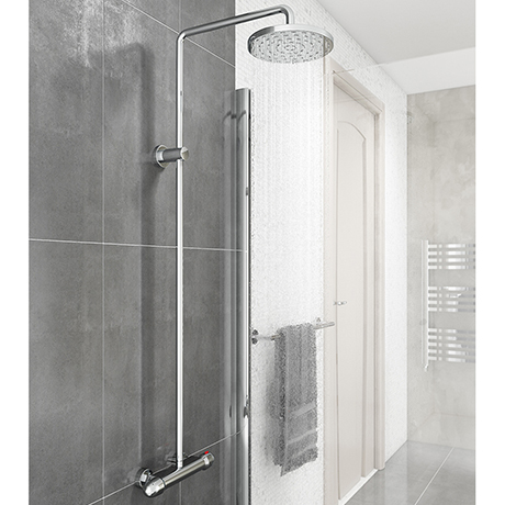 Modern Round Thermostatic Bar Shower Valve & Riser Kit - Chrome