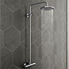 Modern Round Thermostatic Bar Shower Valve & Riser Kit - Chrome profile small image view 1