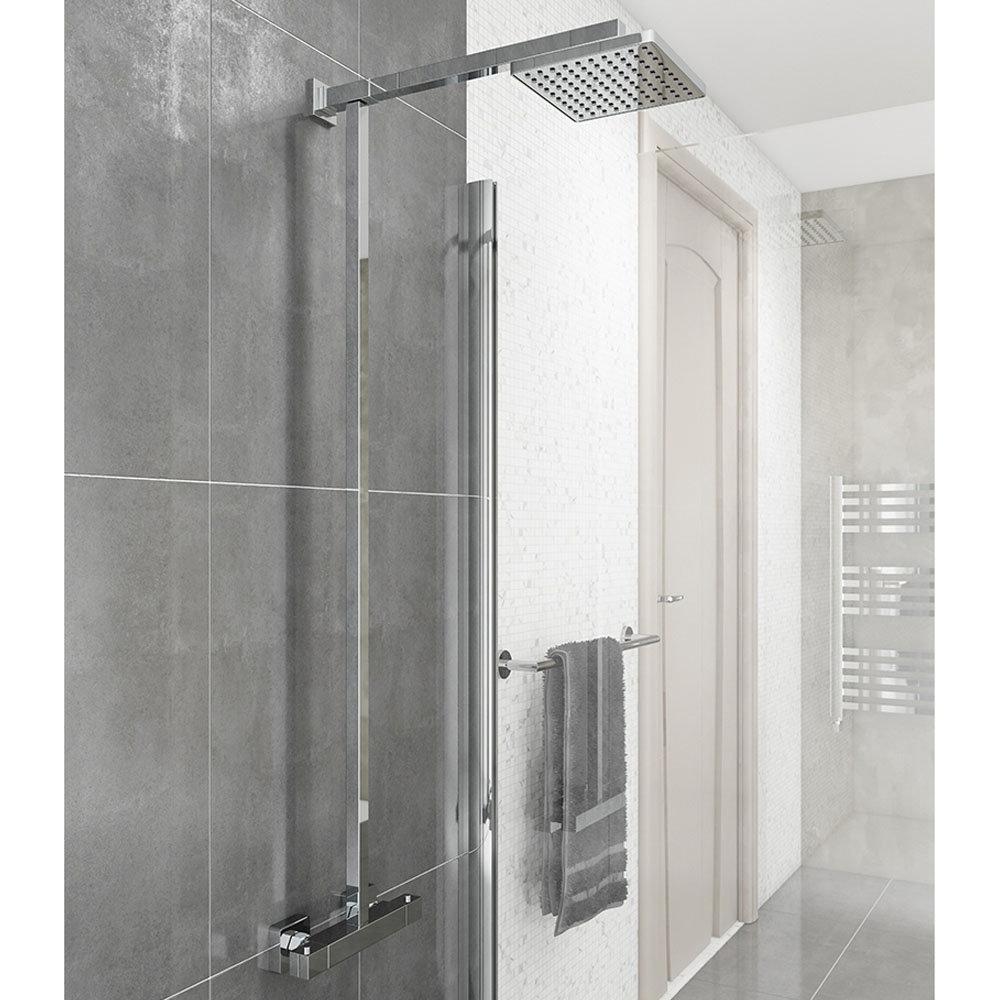 Modern Square Thermostatic Bar Shower Valve & Riser Kit - Chrome Large Image