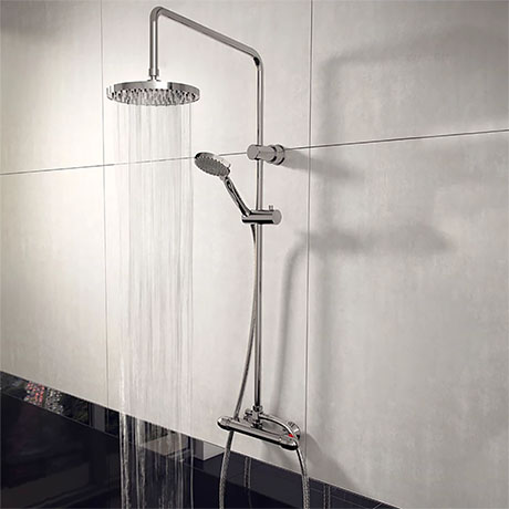 Juno Round Thermostatic Bar Shower Valve + Riser Kit