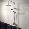 Juno Round Thermostatic Bar Shower Valve + Riser Kit profile small image view 1