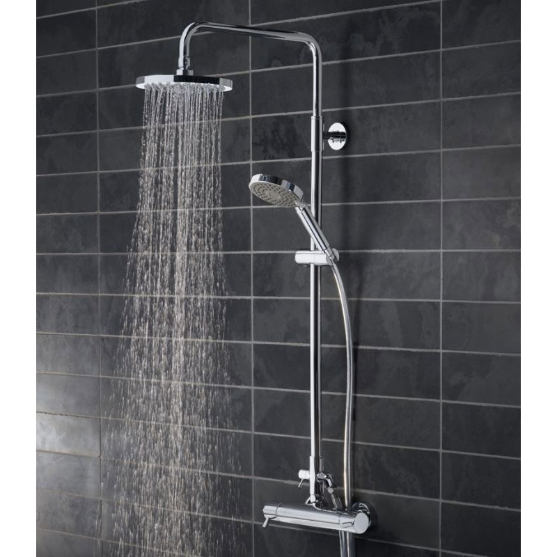Tavistock Kinetic Thermostatic Diverter Bar Valve with Shower Head System profile large image view 2