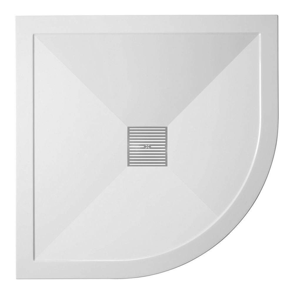 Crosswater - Quadrant Low Profile Stone Resin Shower Tray & Waste - 2 Size Options