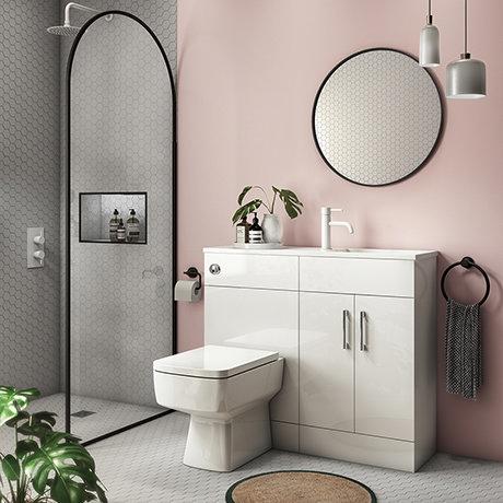 Valencia Slimline Combination Basin & Toilet Unit - White Gloss - (1000 x 305mm)