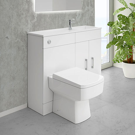 Slimline Combination Basin & Toilet Unit - White Gloss - (1000 x 305mm)