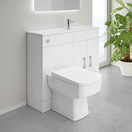 Slimline Combination Basin & Toilet Unit - White Gloss - (1000 x 305mm)