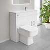 Slimline Combination Basin & Toilet Unit - White Gloss - (1000 x 305mm) profile small image view 1