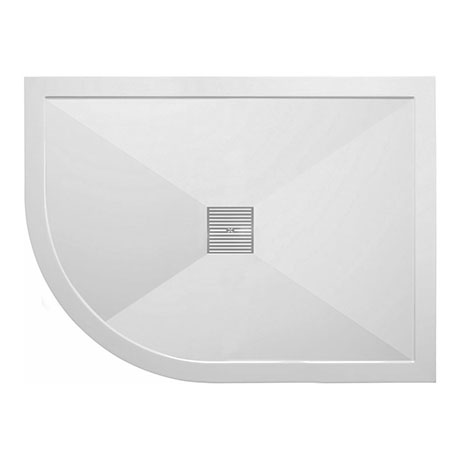 Crosswater - Offset Quadrant Low Profile Stone Resin Shower Tray & Waste - Left Hand - 3 Size Option