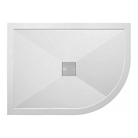 Crosswater - Offset Quadrant Low Profile Stone Resin Shower Tray & Waste - Right Hand - 3 Size Options