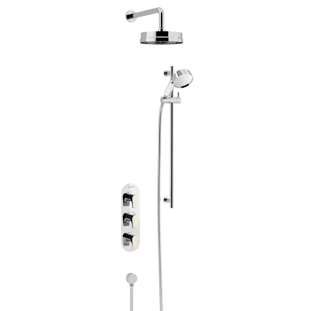 Heritage Lymington Lace Gold Recessed Shower with Deluxe Fixed Head and Flexible Kit - SLYCGDUAL01 L