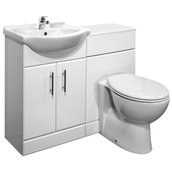 Sienna Milo High Gloss White Vanity Unit Cloakroom Suite W1050 x D300mm profile large image view 1