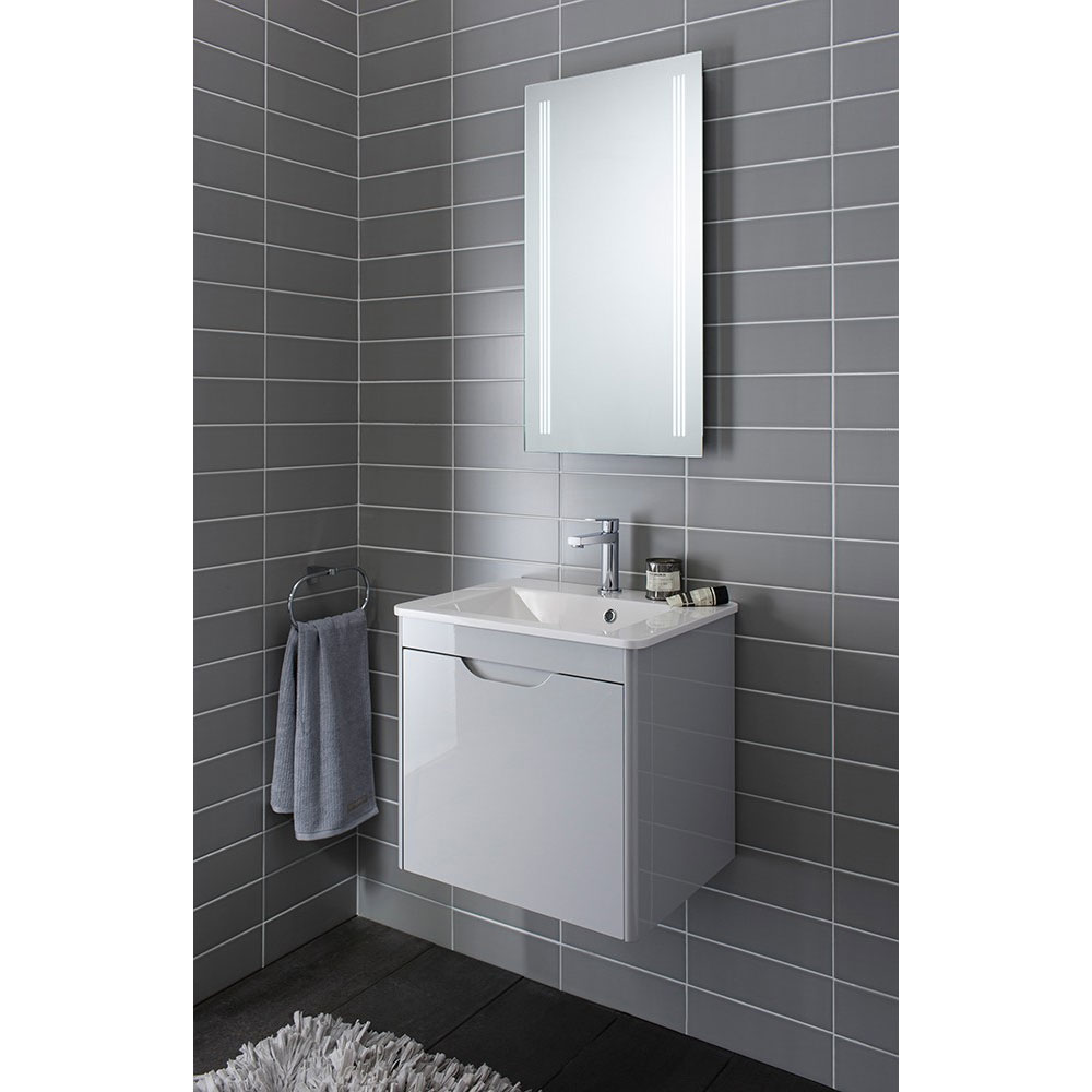 Bauhaus - Solo Wall Hung Single Drawer Vanity Unit and Basin - Quartz - SO55DQZ additional Large Image