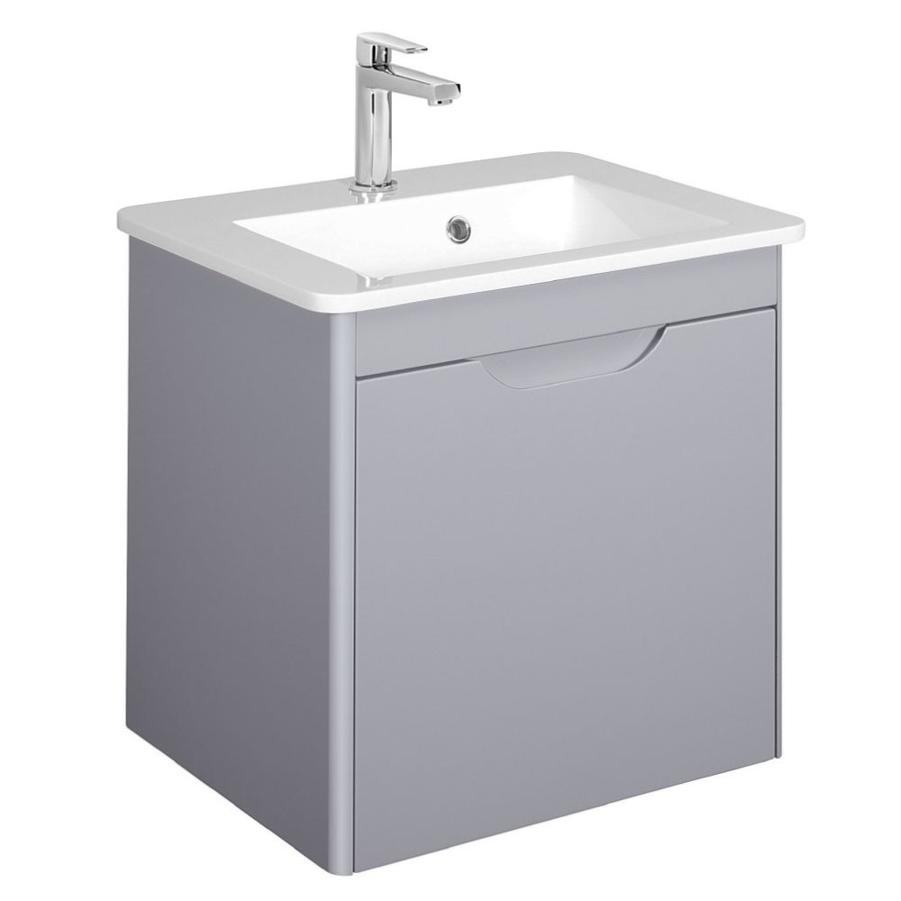 Bauhaus - Solo Wall Hung Single Drawer Vanity Unit and Basin - Quartz - SO55DQZ Large Image