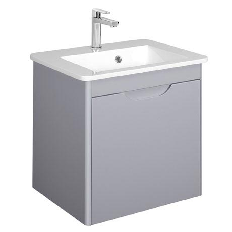 Bauhaus - Solo Wall Hung Single Drawer Vanity Unit and Basin - Quartz - SO55DQZ