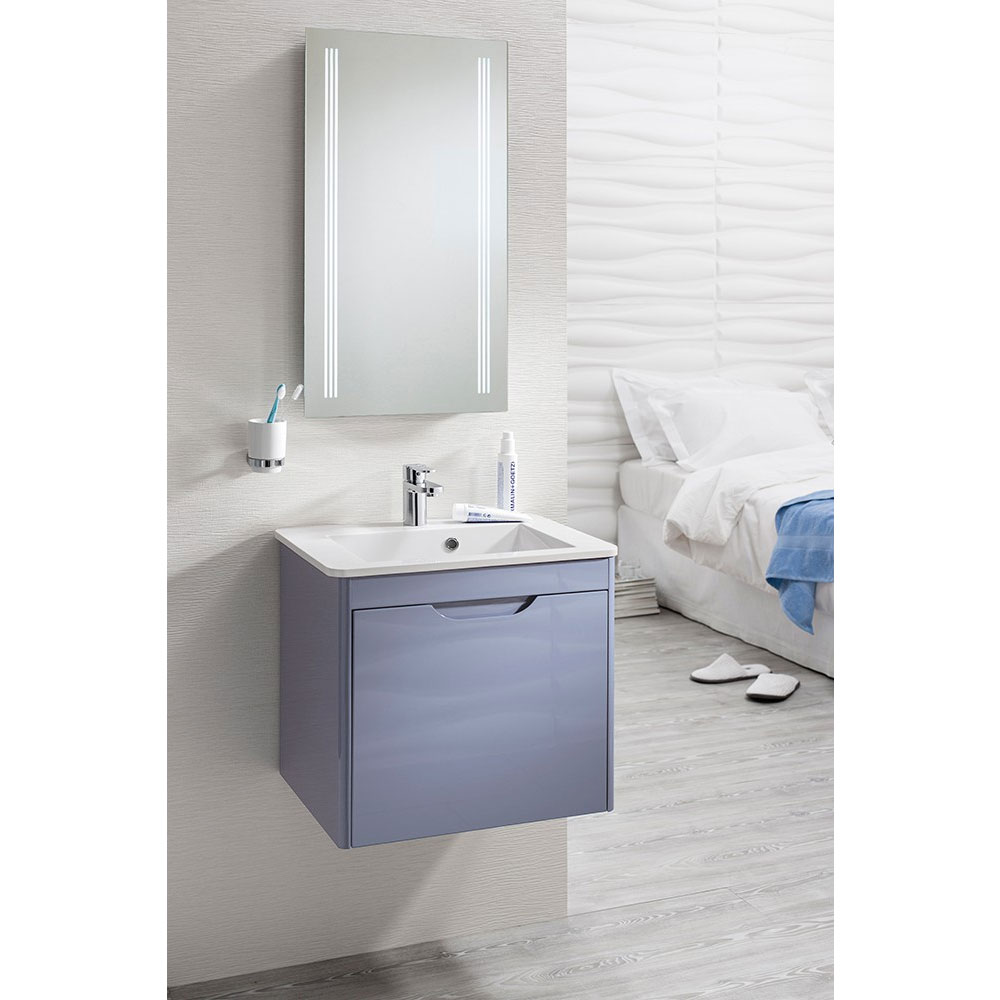 Bauhaus - Solo Wall Hung Single Drawer Vanity Unit and Basin - Azure - SO55DAZ additional Large Image