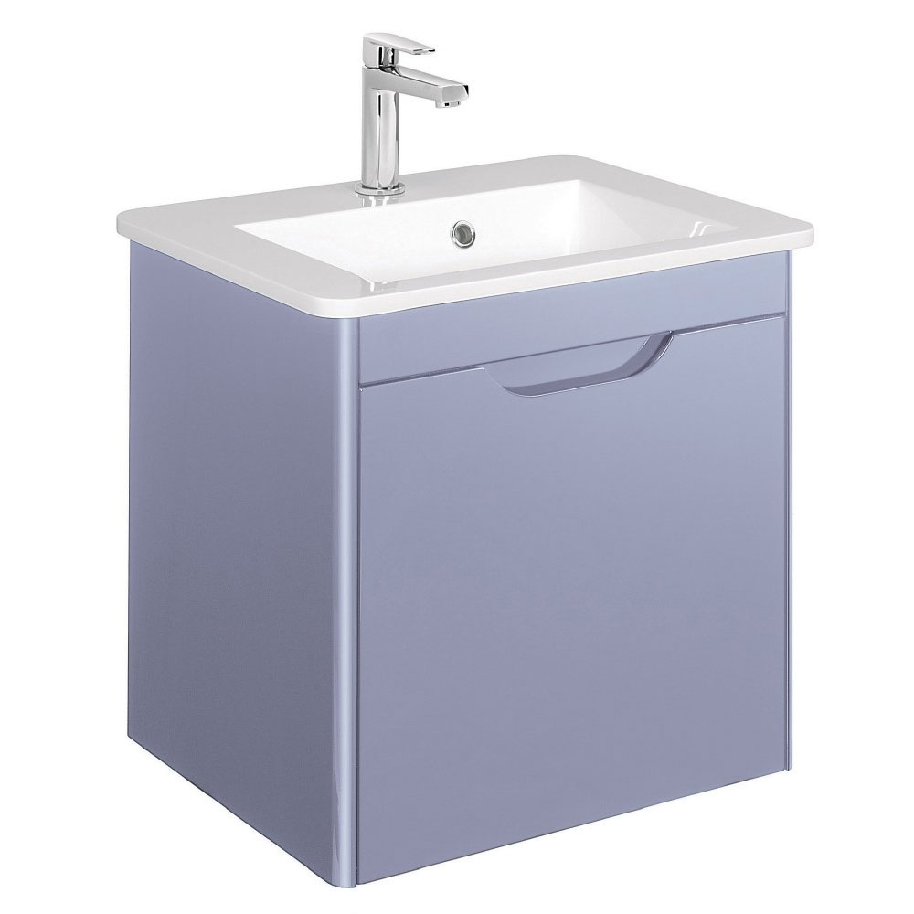 Bauhaus - Solo Wall Hung Single Drawer Vanity Unit and Basin - Azure - SO55DAZ Large Image