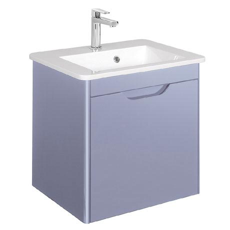 Bauhaus - Solo Wall Hung Single Drawer Vanity Unit and Basin - Azure - SO55DAZ