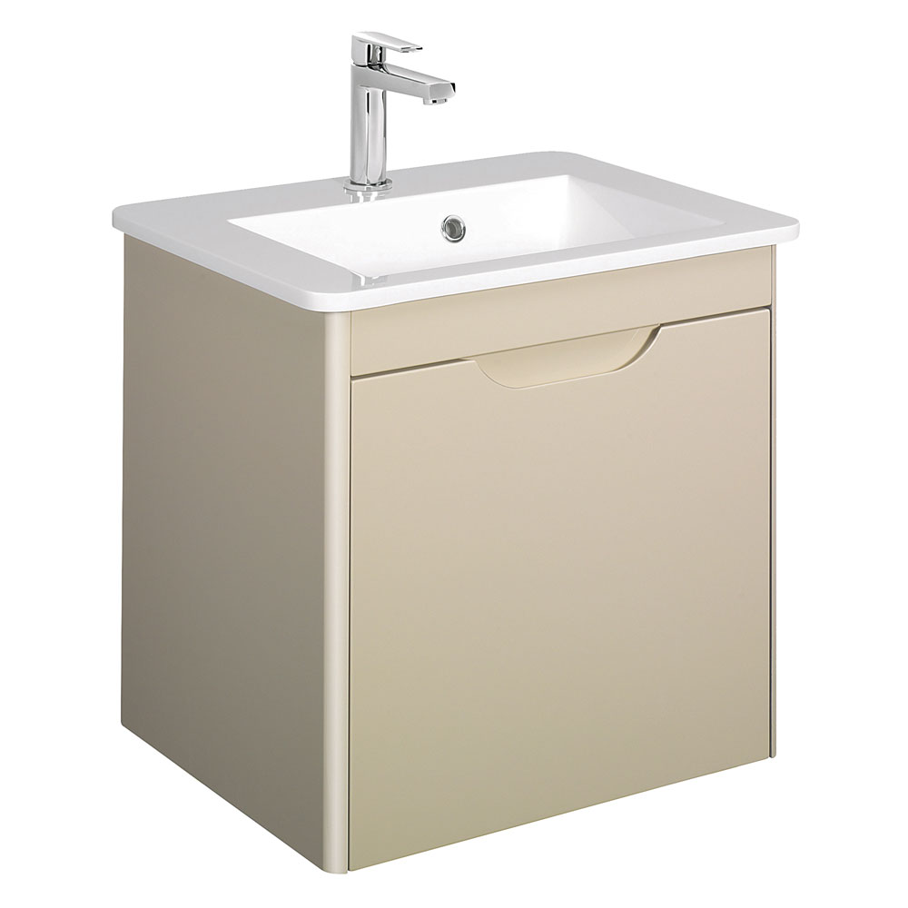 Bauhaus - Solo Wall Hung Single Drawer Vanity Unit and Basin - Calico - SO55DCC Large Image