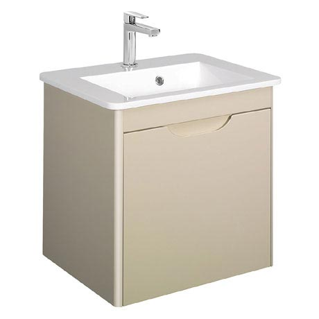 Bauhaus - Solo Wall Hung Single Drawer Vanity Unit and Basin - Calico - SO55DCC
