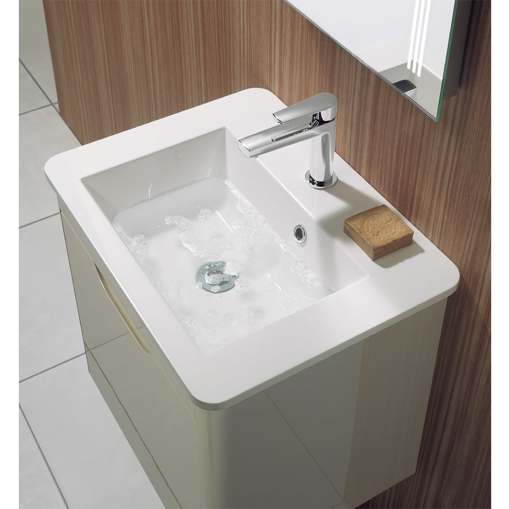 Bauhaus - Solo Wall Hung Single Drawer Vanity Unit and Basin - Azure - SO55DAZ Profile Large Image
