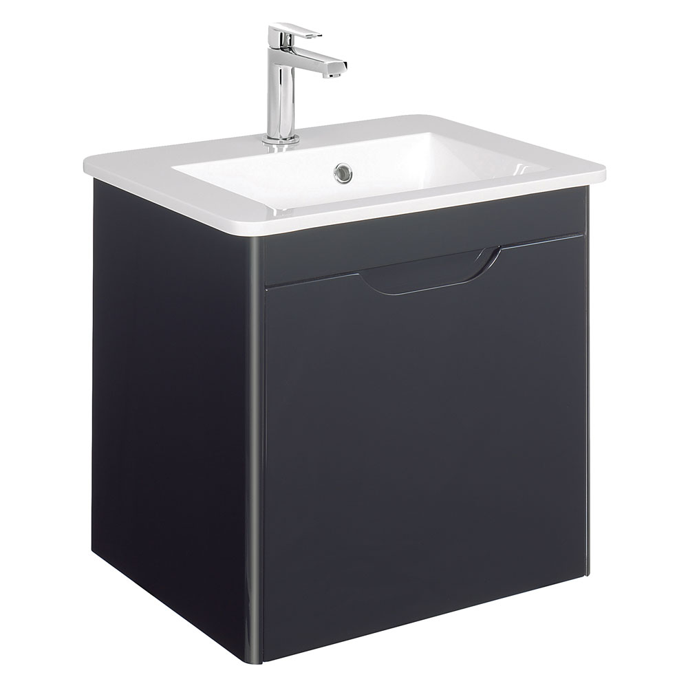 Bauhaus - Solo Wall Hung Single Drawer Vanity Unit and Basin - Graphite - SO55DGR Large Image