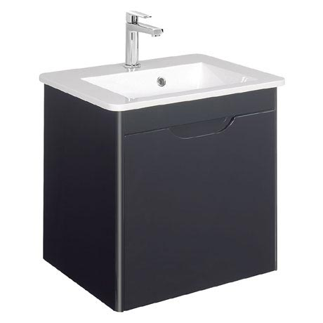 Bauhaus - Solo Wall Hung Single Drawer Vanity Unit and Basin - Graphite - SO55DGR