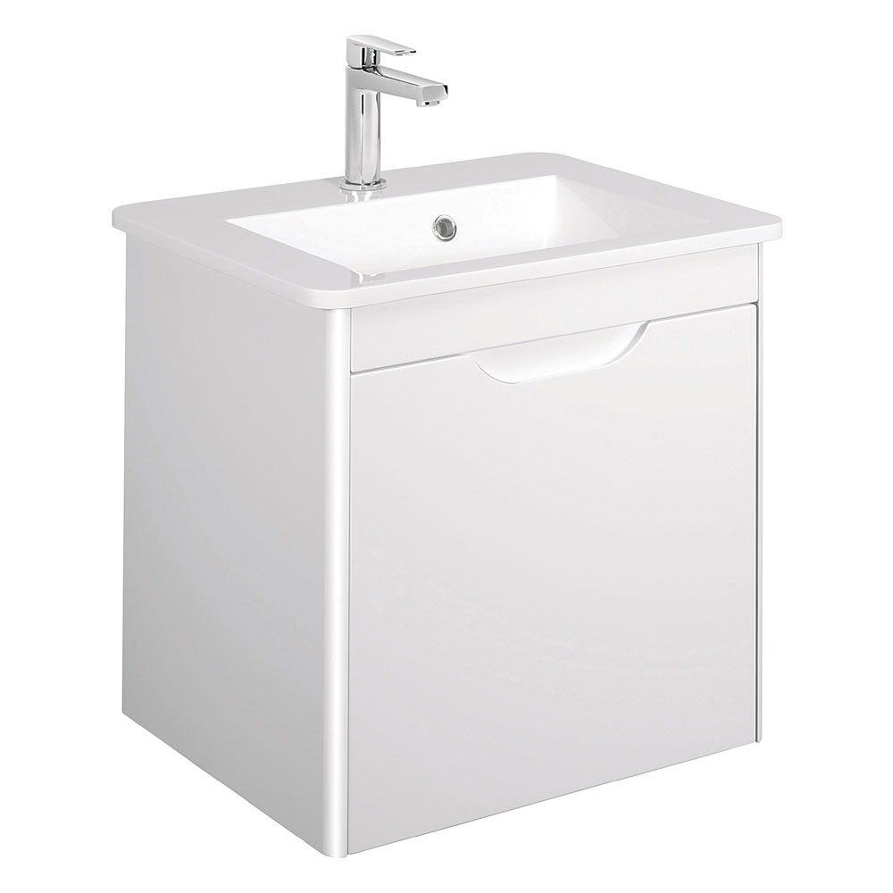 Bauhaus - Solo Wall Hung Single Drawer Vanity Unit and Basin - White Gloss - SO55DWG Large Image