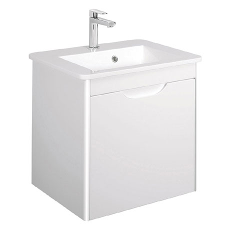 Bauhaus - Solo Wall Hung Single Drawer Vanity Unit and Basin - White Gloss - SO55DWG