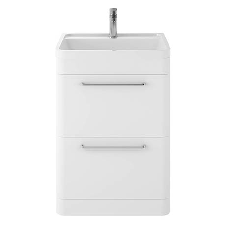 Hudson Reed Solar 600mm Floor Standing Cabinet & Basin - Pure White - SOL101