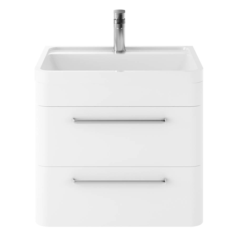 Hudson Reed Solar 600mm Wall Hung Cabinet & Basin - Pure White - SOL102