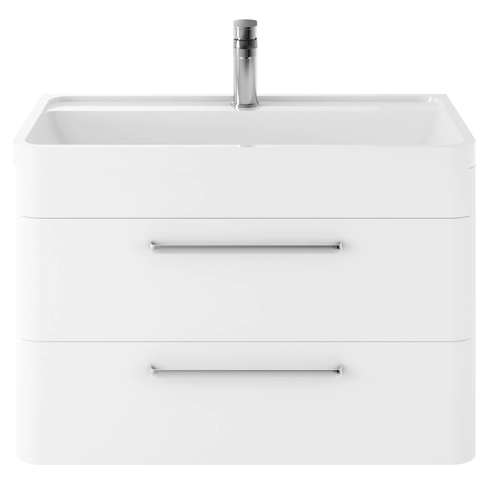 Hudson Reed Solar 800mm Wall Hung Cabinet & Basin - Pure White - SOL104