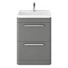 Hudson Reed Solar 600mm Floor Standing Cabinet & Basin - Cool Grey - SOL201 profile small image view 1