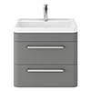 Hudson Reed Solar 600mm Wall Hung Cabinet & Basin - Cool Grey - SOL202 profile small image view 1