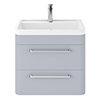 Hudson Reed Solar 600mm Wall Hung Cabinet & Basin - Matt Denim Blue profile small image view 1