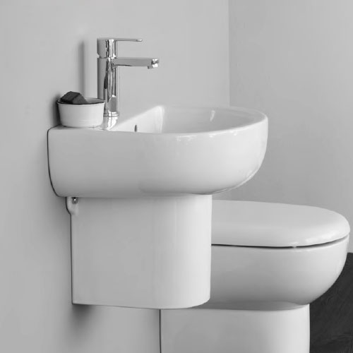 Britton Bathrooms - Compact Washbasin with Round Semi Pedestal - 3 Size Options Profile Large Image