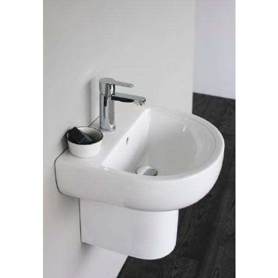 Britton Bathrooms - Compact Washbasin with Round Semi Pedestal - 3 Size Options Feature Large Image