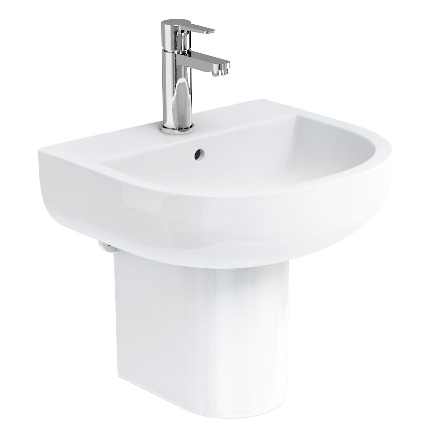 Britton Bathrooms - Compact Washbasin with Round Semi Pedestal - 3 Size Options Large Image