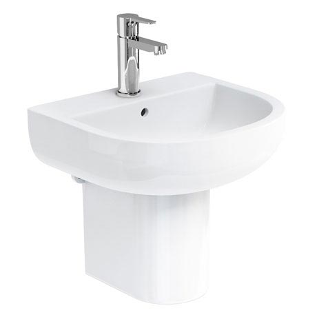 Britton Bathrooms - Compact Washbasin with Round Semi Pedestal - 3 Size Options