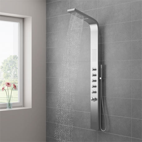 Milan Shower Tower Panel - Stainless Steel (Thermostatic)