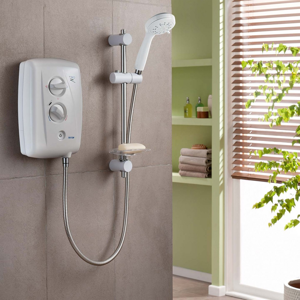 Triton T80Z 7.5 kW Fast-Fit Electric Shower - White/Chrome - SP8007ZFF profile large image view 2