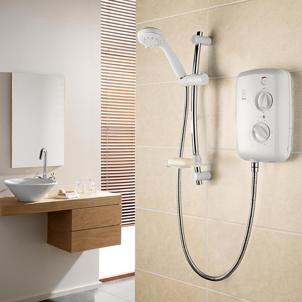 Triton - T80z Slimline 9.5 kw Electric Shower - White-Chrome - SP8009ZSLM profile large image view 2