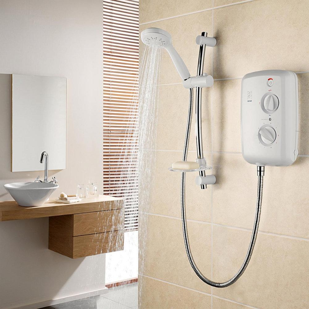 Triton - T80z Slimline 9.5 kw Electric Shower - White-Chrome - SP8009ZSLM profile large image view 3