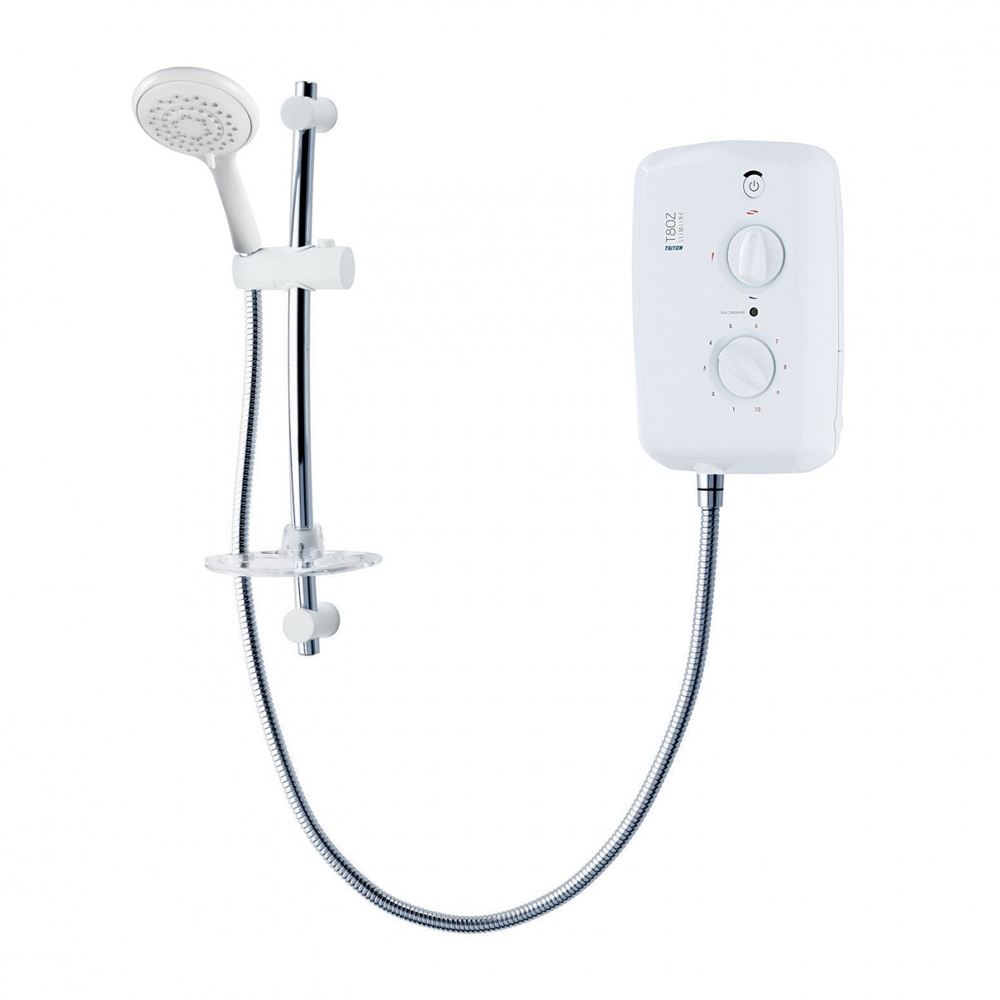 Triton - T80z Slimline 9.5 kw Electric Shower - White-Chrome - SP8009ZSLM profile large image view 1