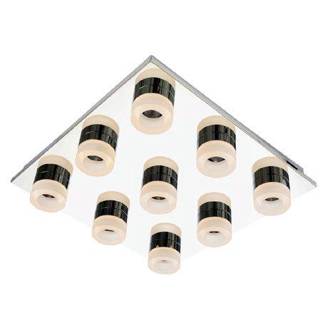 Forum Rhea LED 9 Light Acrylic Ring Bathroom Flush Ceiling Fitting - SPA-23533-CHR